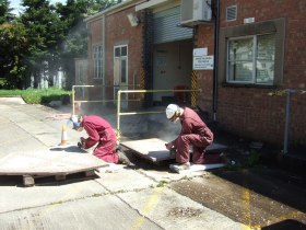 The mosaic panels being carefully shaped at Pixash Lane