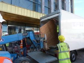 The panels arriving at the new Civic Centre