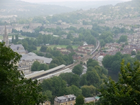 A view down to Bath Spa station from the top of Beechen Cliff.
