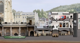 Artist's impression attached showing how the Archway Centre might connect beneath York Street to the Roman Baths.