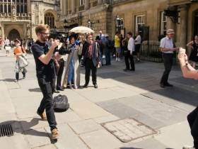 Filming Jane's day out in Abbey Churchyard.