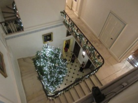 The feature Christmas tree beside the grand staircase.