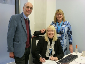 Photo Caption (left to right): Councillor Paul Crossley, Leader of Bath & North East Somerset Council, with Lesley Brown, the Registrar at the new Keynsham Register Office, and Alison Manning, the Registration Services Manager for the Bath and North East Somerset District.