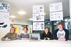 The four shortlisted students – Georgie Rogers, Francesca Rossi, Emma Buckley and Jamie Devrell-Cameron.