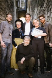The Doubleshot production team with actor Adrian Lukis and Jackie Herring from Jane Austen Society.