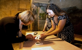Examining real lead curses from the Roman Baths collection.