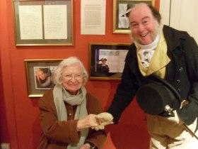 Martin greeting the late British novelist  PD James.