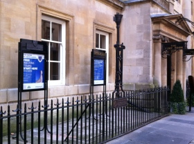 The new signage outside the Pump Room in Bath.