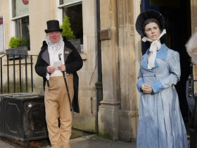 Martin on duty as Mr Bennet outside the Jane Austen Centre in Gay Street.
