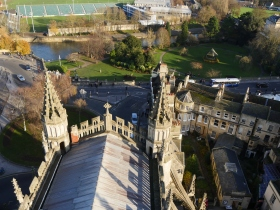Looking down on the nave from on top and across to Parade Gardens.