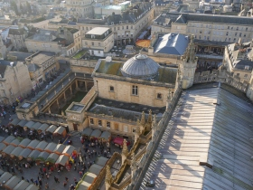 Looking down on the market and Roman Baths