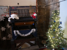 The old carillon in the ringing chamber.