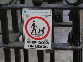Will this warning notice be changed soon for a complete dog ban?