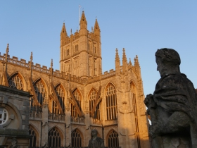 Bath Abbey in the evening sunlight.