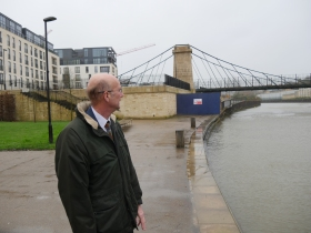 Cllr Crossley showing me the newly refurbished  Victoria Bridge.