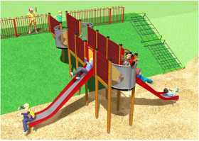 An artist's impression of the new kit which will have new steps to one side and a climbing net on the other as well as the bridge play unit with two slides, passing places and lookout spot.