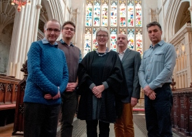 The photo is of (Left to Right) Ben Gammon (ABG), Oliver Taylor (Bath Abbey), Julia Holberry (Julia Holberry Associates), Howard Miles (ABG) and Chris Hubert (ABG).