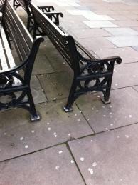 Gum splattered around pedestrian benches on Stall Street