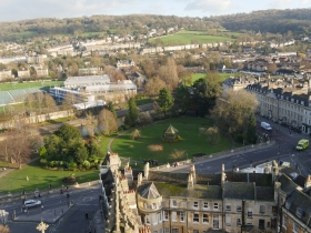 Looking down on Parade Gardens from the tower of Bath Abbey