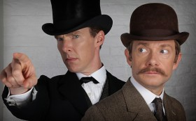 Benedict Cumberbatch and Martin Freeman as they will appear in the Christmas Special. © BBC/Hartswood Films.