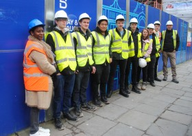 Construction Design and Management students visiting the St John's Hospital development site in central Bath.