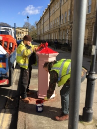A more familiar pillar box red now being applied!