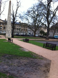 Queen Square and the original single pathway in - minus its bins.