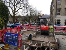 Work underway on re-shaping a crossing point at the Victoria Park end of Queen Square.