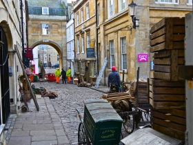 Filming finished in Queen Street - time to pack things away.