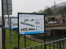 The information boards by Churchill Bridge