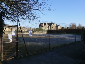 The bottom tennis courts in need of attention