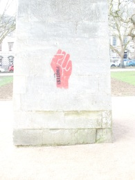 The graffiti daubed on the obelisk in Queen Square.