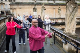 Tai Chi on the Terrace at the Roman Baths. Picture taken during last year's sessions. Click on image to enlarge.