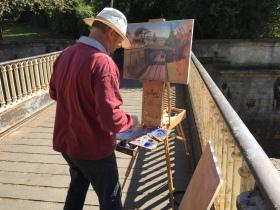 Keynsham artist Ian Cryer at his easel in Sydney Gardens.