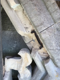 An image taken by James Preston - who will be working on the repairs as part of Sally Strachey Historic Conservation - high up on the tower face.  You can clearly see the damage ferrous metals cause to stone work when they are embedded.