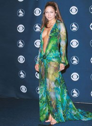 Jennifer Lopez at the Grammy Awards in 2000 wearing that Versace green dress. There's one you can see at Bath Fashion Museum.