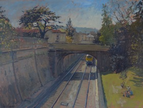 The London to Bristol line passing through Sydney Gardens is the subject of this canvas painting.