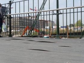 The rippling effect on the bridge decking.