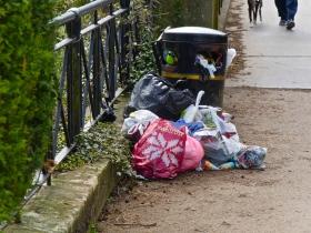 Overflowing and stinking rubbish bin near Grosvenor Bridge.