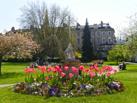 Flowers blooming in Parade Gardens. How might it and other parks be affected by cut-backs.