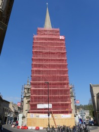 The scaffolding will be a feature - covering the Broad Street end of St Michaels Without - until September.