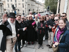 A very friendly group of Bath visitors meeting Martin on their Mayor's Guides trip this morning. Click on image to enlarge.