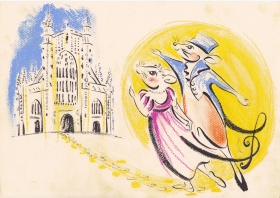 An illustration by artist, Debbie Loftus, of one of the highlights of the 'musical tour' of Mr and Mrs Mouse attending the Alderman's Ball in Regency Bath.