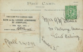 On May 25th Hucks carried a special mail of about 600 souvenir postcards from Bath to London.