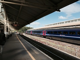 The platform towards Bristol at Bath Spa station.