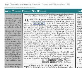The notice from the Bath Chronicle of 1793. Click on image to enlarge.