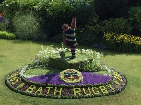 The new three dimensional Bath Rugby floral display.