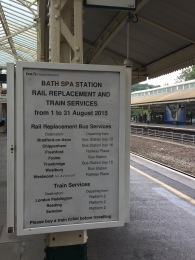 Rail service information poster on Bath Spa Station.