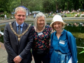 Bath Mayor Will Sandry with Cleveland Pools chairman Ann Dunlop and adviser Mary Sabina Stacey from Bristol. Mary is the lead organiser for all the Bicentenary events for the Cleveland Pools this year.