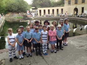 he group of 7-year old school children from St Benedict's Primary School in Midsomer Norton who performed a play by Petra Schofield called 'Our Trip to the Pools'.